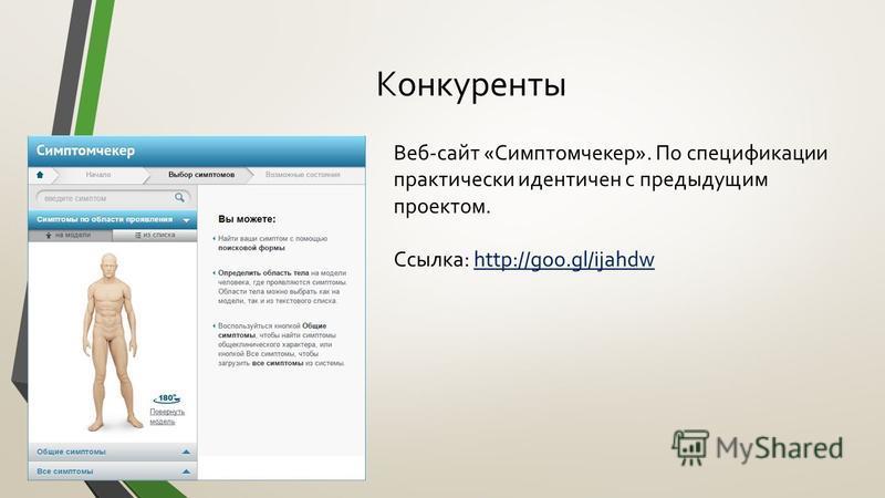 Конкуренты Веб-сайт «Симптомчекер». По спецификации практически идентичен с предыдущим проектом. Ссылка: http://goo.gl/ijahdw
