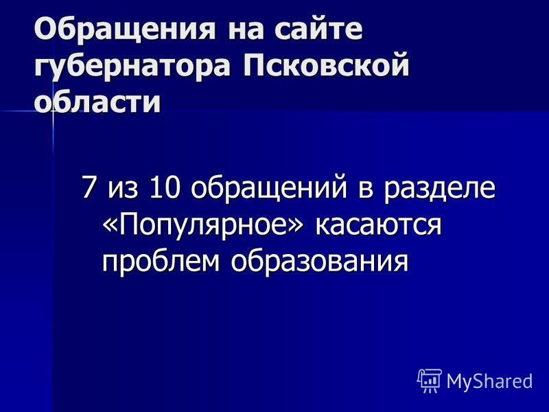 Обращения на сайте губернатора Псковской области 7 из 10 обращений в разделе «Популярное» касаются проблем образования