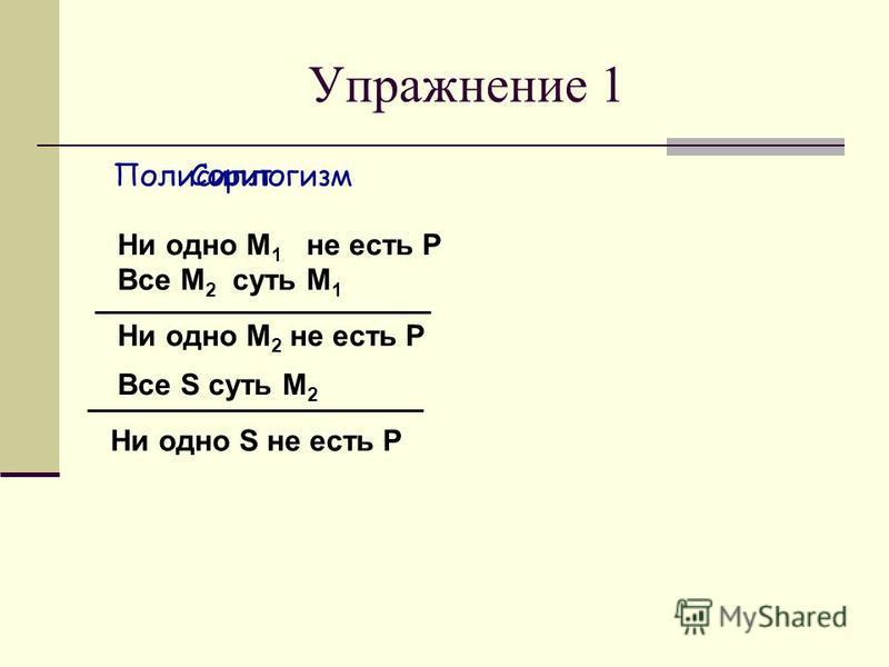 Ни одно М 1 не есть Р Все М 2 суть М 1 Все S суть М 2 Ни одно S не есть Р Ни одно М 2 не есть Р Полисиллогизм Упражнение 1 Сорит