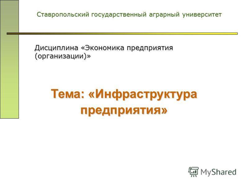 Тема: «Инфраструктура предприятия» Ставропольский государственный аграрный университет Дисциплина «Экономика предприятия (организации)»