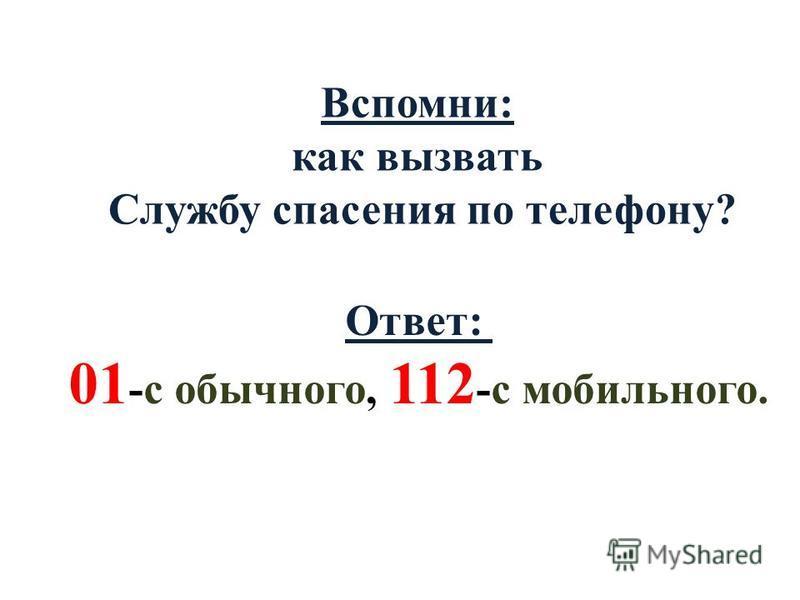 Вспомни: как вызвать Службу спасения по телефону? Ответ: 01 -с обычного, 112 -с мобильного.