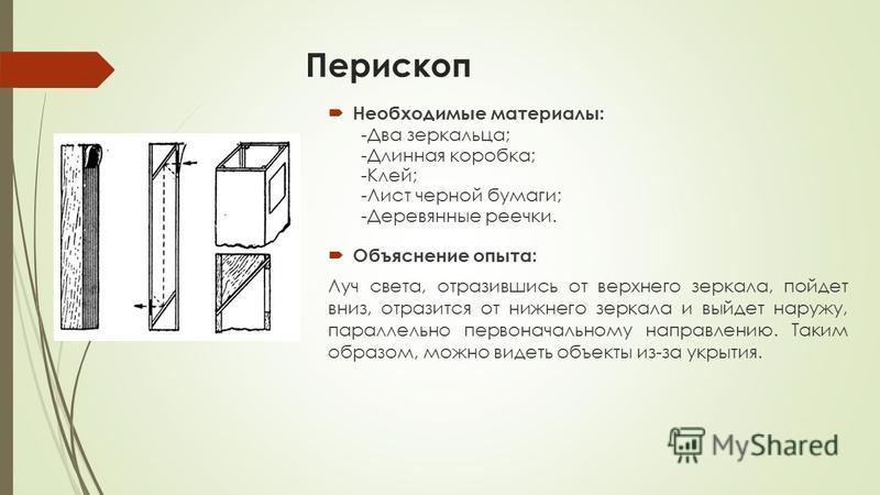 Перископ Необходимые материалы: -Два зеркальца; -Длинная коробка; -Клей; -Лист черной бумаги; -Деревянные реечки. Объяснение опыта: Луч света, отразившись от верхнего зеркала, пойдет вниз, отразится от нижнего зеркала и выйдет наружу, параллельно пер
