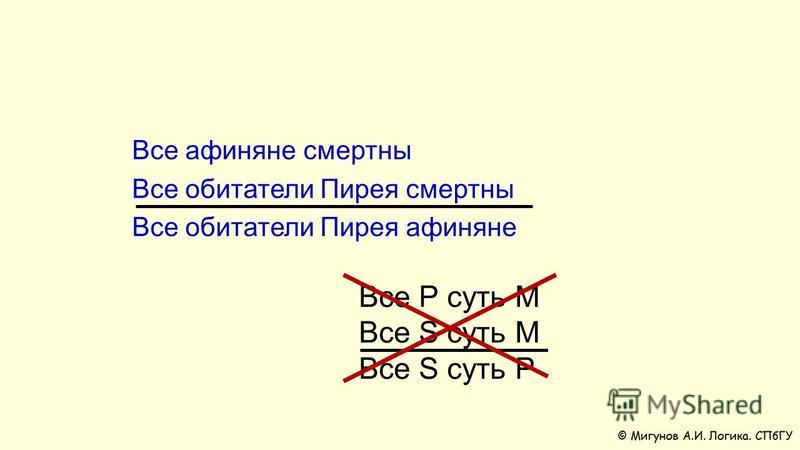 Все Р суть М Все S суть M Все S суть P Все афиняне смертны Все обитатели Пирея смертны Все обитатели Пирея афиняне
