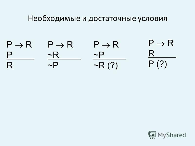 Необходимые и достаточные условия P R P R P R R P (?) P R ~R ~P P R ~P ~R (?)