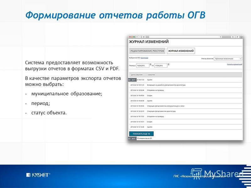 ГИС «Незаконное строительство» Формирование отчетов работы ОГВ Система предоставляет возможность выгрузки отчетов в форматах CSV и PDF. В качестве параметров экспорта отчетов можно выбрать: -муниципальное образование; -период; -статус объекта.