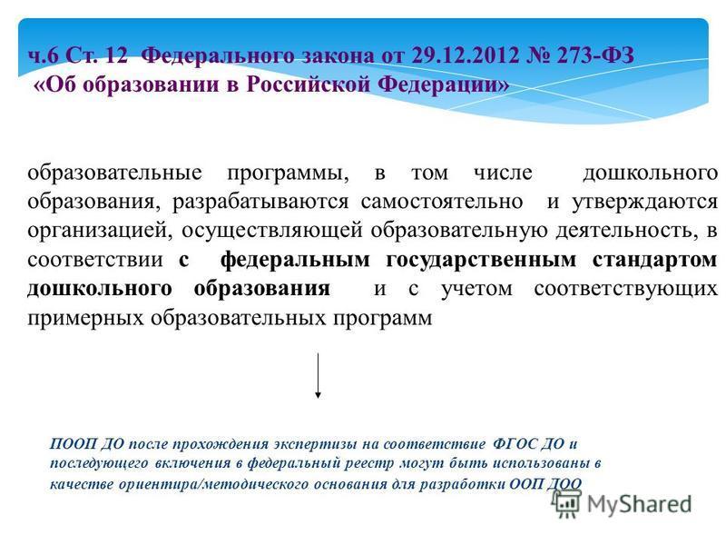 ч.6 Ст. 12 Федерального закона от 29.12.2012 273-ФЗ «Об образовании в Российской Федерации» образовательные программы, в том числе дошкольного образования, разрабатываются самостоятельно и утверждаются организацией, осуществляющей образовательную дея