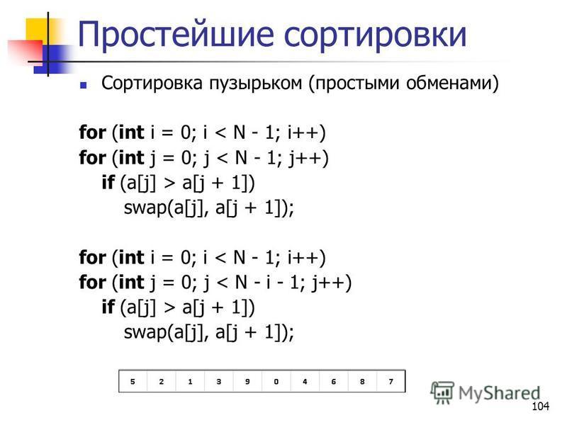 104 Простейшие сортировки Сортировка пузырьком (простыми обменами) for (int i = 0; i < N - 1; i++) for (int j = 0; j < N - 1; j++) if (a[j] > a[j + 1]) swap(a[j], a[j + 1]); for (int i = 0; i < N - 1; i++) for (int j = 0; j < N - i - 1; j++) if (a[j]