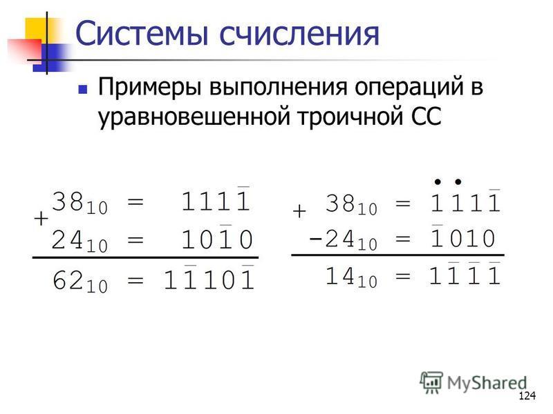 124 Системы счисления Примеры выполнения операций в уравновешенной троичной СС