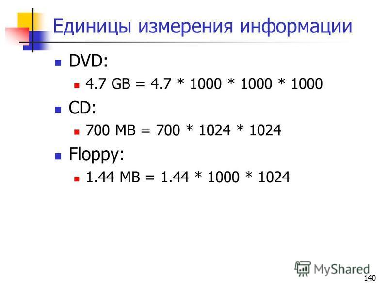 140 Единицы измерения информации DVD: 4.7 GB = 4.7 * 1000 * 1000 * 1000 CD: 700 MB = 700 * 1024 * 1024 Floppy: 1.44 MB = 1.44 * 1000 * 1024