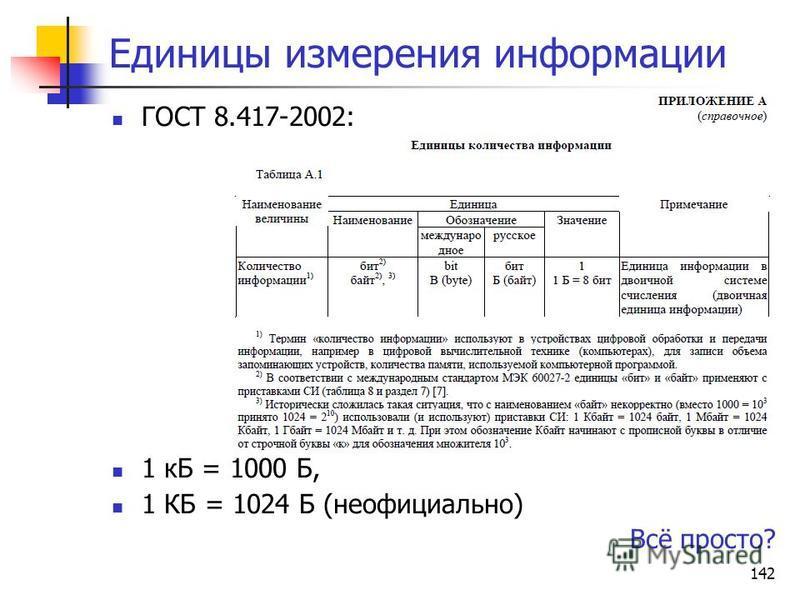 142 Единицы измерения информации ГОСТ 8.417-2002: 1 кБ = 1000 Б, 1 КБ = 1024 Б (неофициально) Всё просто?