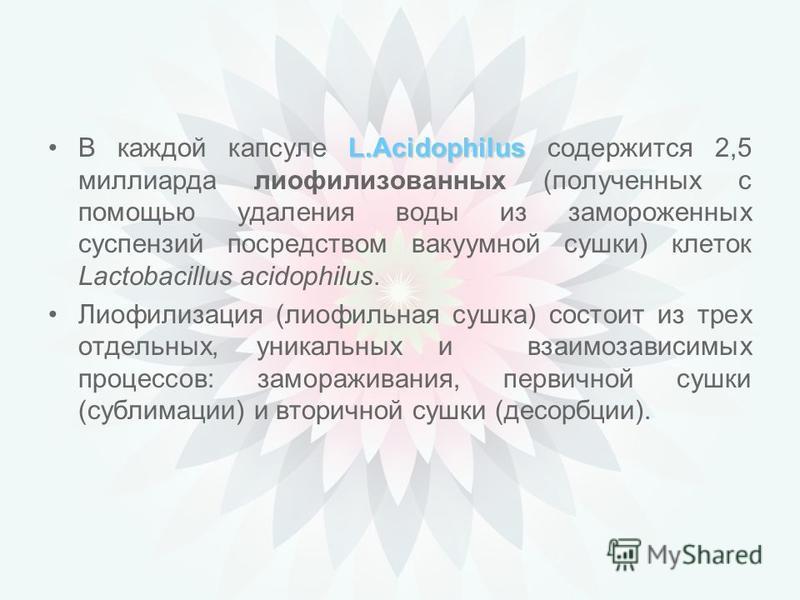 L.AcidophilusL.Acidophilus – ацидофильные бактерии (Lactobacillus acidophilus), обычно присутствующие в пищеварительном тракте человека и необходимые для поддержания нормальной микрофлоры кишечника. При рождении человека Lactobacillus acidophilus в к