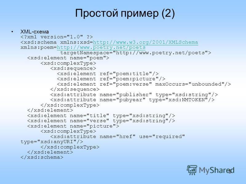 5 Простой пример (2) XML-схема http://www.w3.org/2001/XMLSchemahttp://www.poetry.net/poets