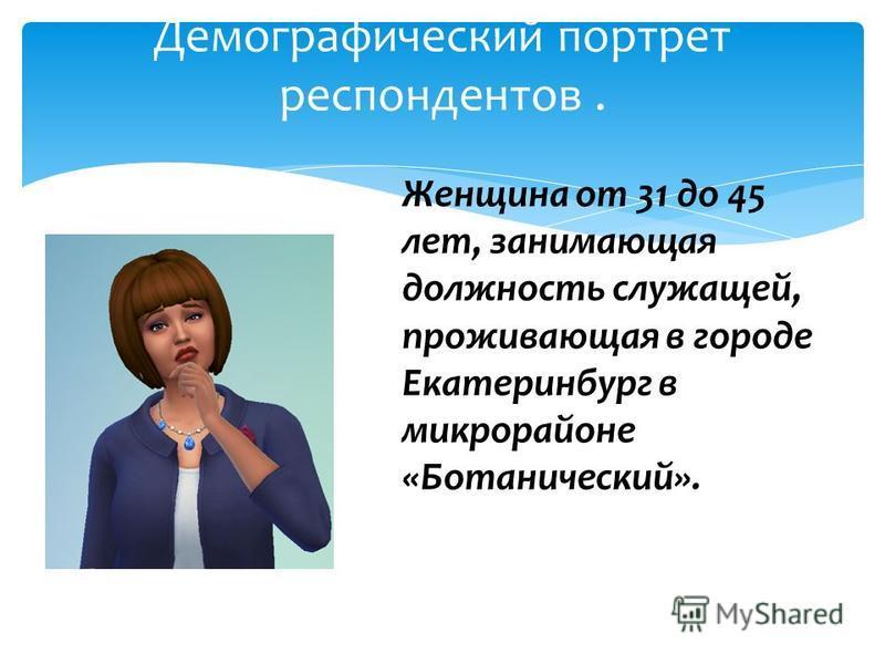 Демографический портрет респондентов. Женщина от 31 до 45 лет, занимающая должность служащей, проживающая в городе Екатеринбург в микрорайоне «Ботанический».