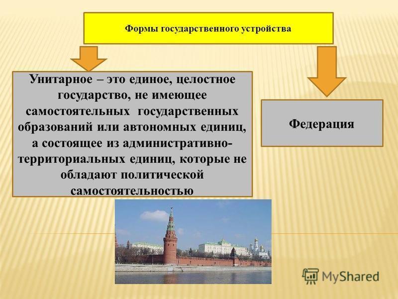 Формы государственного устройства Унитарное – это единое, целостное государство, не имеющее самостоятельных государственных образований или автономных единиц, а состоящее из административно- территориальных единиц, которые не обладают политической са