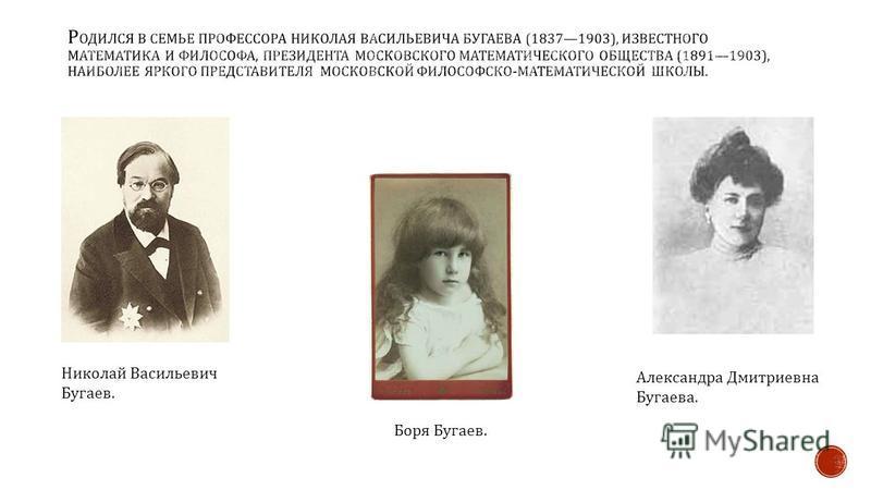 Николай Васильевич Бугаев. Боря Бугаев. Александра Дмитриевна Бугаева.