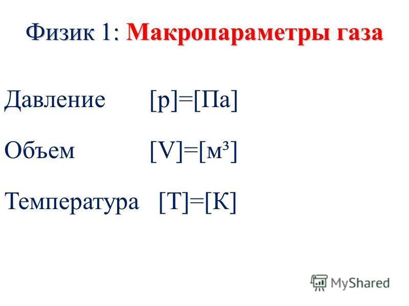 Физик 1: Макропараметры газа Давление [p]=[Па] Объем [V]=[м³] Температура [Т]=[К]