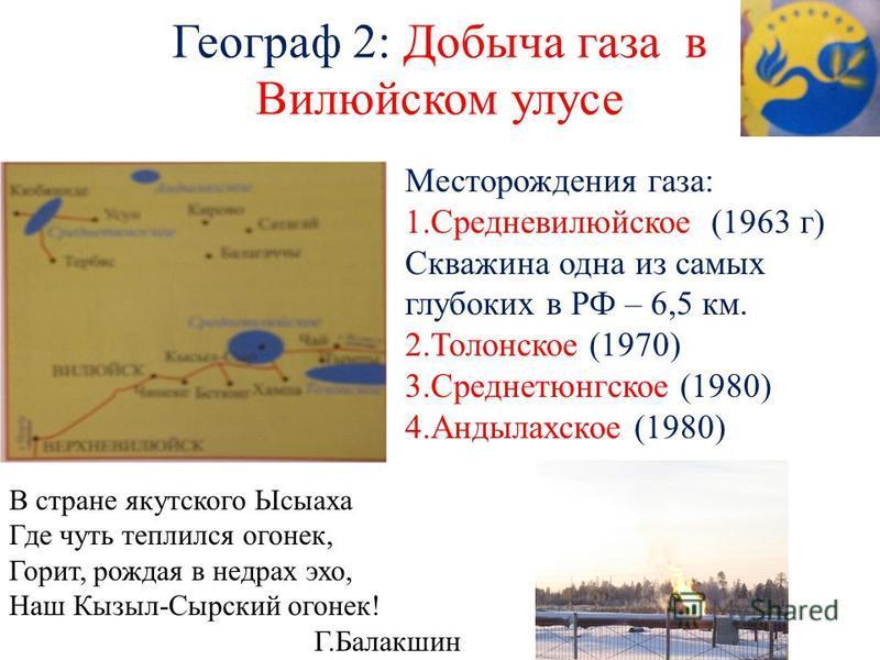 Географ 2: Добыча газа в Вилюйском улусе Месторождения газа: 1. Средневилюйское (1963 г) Скважина одна из самых глубоких в РФ – 6,5 км. 2. Толонское (1970) 3. Среднетюнгское (1980) 4. Андылахское (1980) В стране якутского Ысыаха Где чуть теплился ого