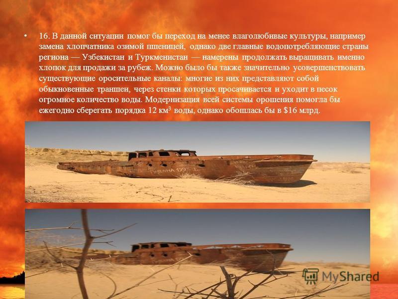 16. В данной ситуации помог бы переход на менее влаголюбивые культуры, например замена хлопчатника озимой пшеницей, однако две главные вода потребляющие страны региона Узбекистан и Туркменистан намерены продолжать выращивать именно хлопок для продажи