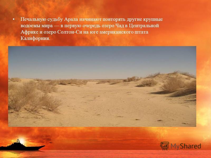 Печальную судьбу Арала начинают повторять другие крупные водоемы мира в первую очередь озеро Чад в Центральной Африке и озеро Солтон-Си на юге американского штата Калифорния.