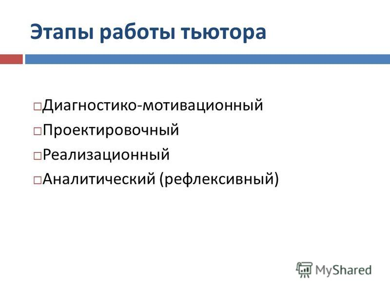 Этапы работы тьютора Диагностико-мотивационный Проектировочный Реализационный Аналитический (рефлексивный)