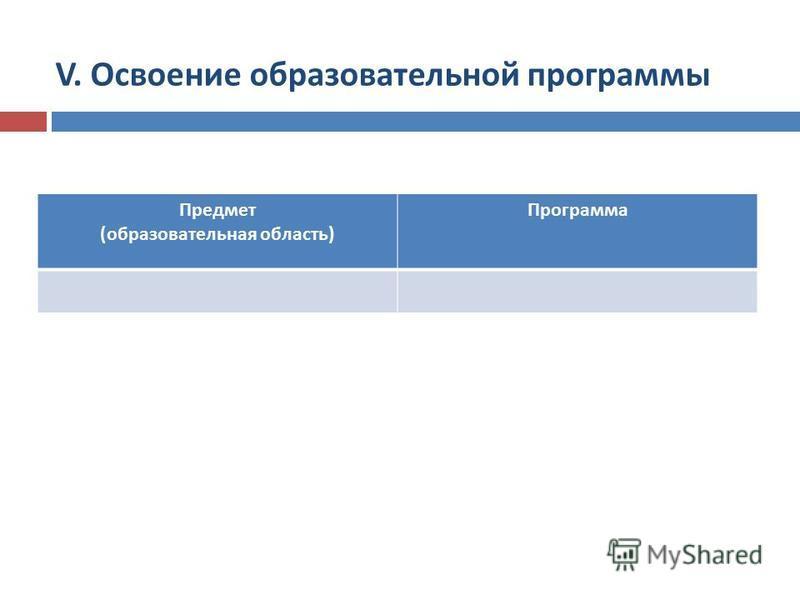 Предмет (образовательная область) Программа V. Освоение образовательной программы