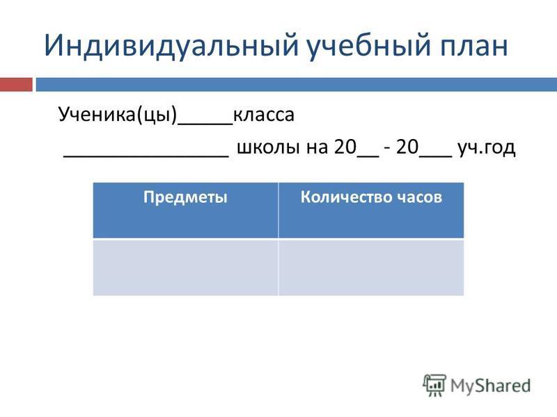 Индивидуальный учебный план Ученика ( цы )_____ класса _______________ школы на 20__ - 20___ уч. год Предметы Количество часов