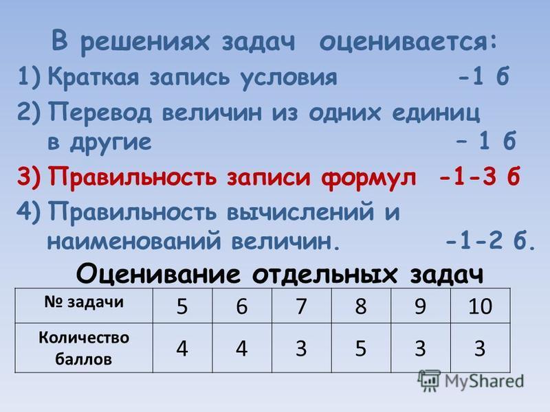 В решениях задач оценивается: 1)Краткая запись условия -1 б 2)Перевод величин из одних единиц в другие – 1 б 3)Правильность записи формул -1-3 б 4)Правильность вычислений и наименований величин. -1-2 б. Оценивание отдельных задач задачи 5678910 Колич
