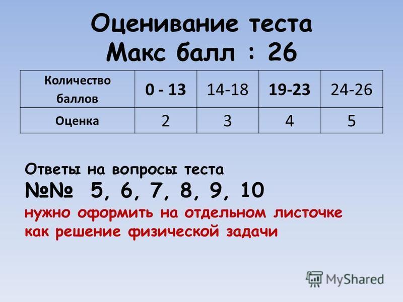 Оценивание теста Макс балл : 26 Количество баллов 0 - 1314-1819-2324-26 Оценка 2345 Ответы на вопросы теста 5, 6, 7, 8, 9, 10 нужно оформить на отдельном листочке как решение физической задачи