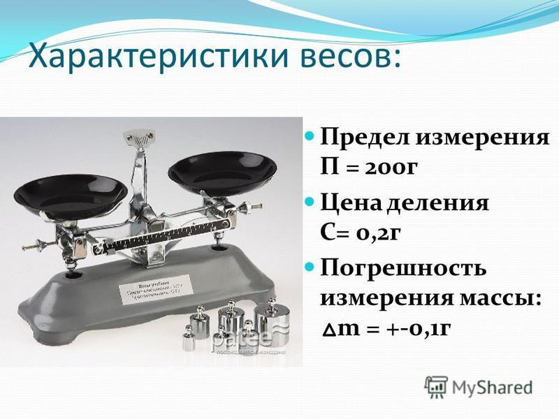 Характеристики весов: Предел измерения П = 200 г Цена деления С= 0,2 г Погрешность измерения массы: m = +-0,1 г