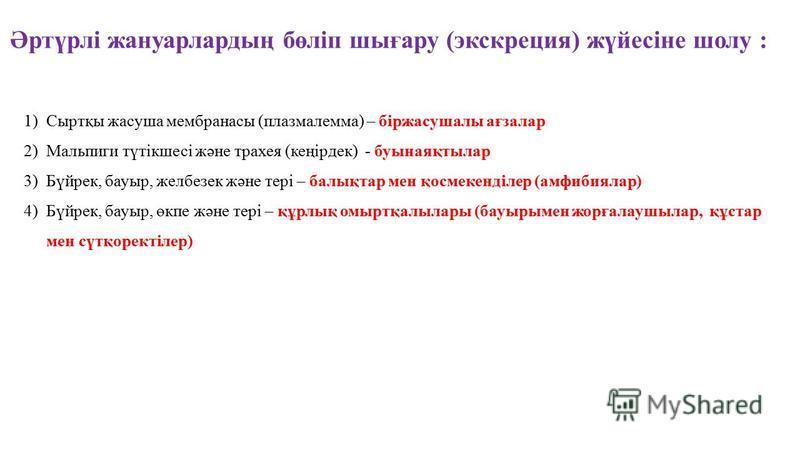 Әртүрлі жануарлардың бөліп шығару (экскреция) жүйесіне шолу : 1)Сыртқы жасуша мембранасы (плазмалемма) – біржасушалы ағзалар 2)Мальпиги түтікшесі және трахея (кеңірдек) - буынаяқтылар 3)Бүйрек, бауыр, желбезек және тері – балықтар мен қосмекенділер (