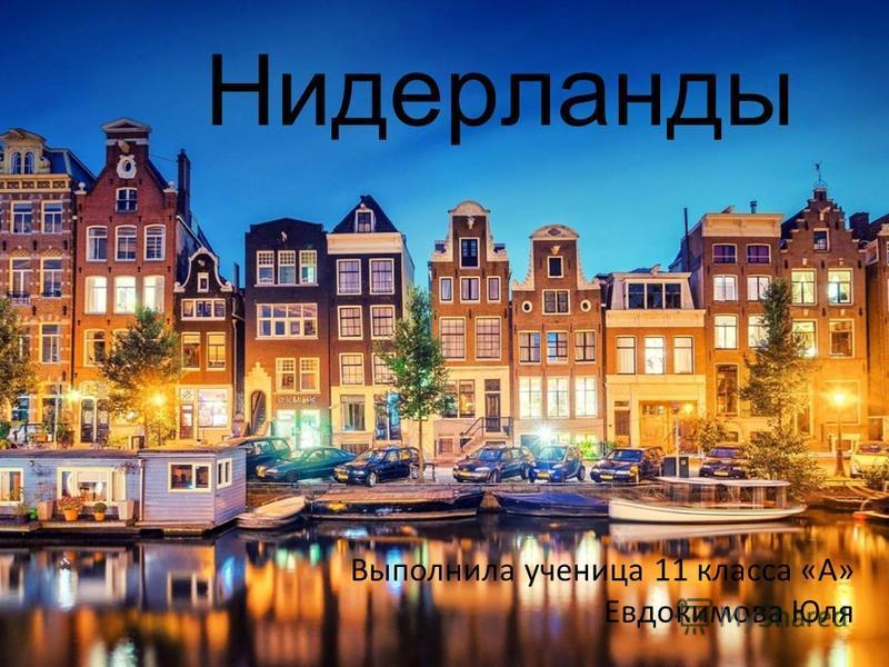 Нидерланды Выполнила ученица 11 класса «А» Евдокимова Юля