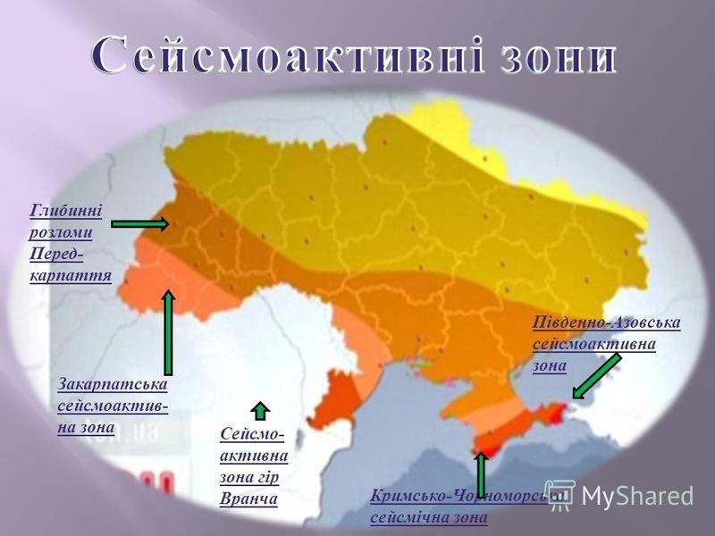Глибинні розломи Перед - карпаття Південно - Азовська сейсмоактивна зона Кримсько - Чорноморська сейсмічна зона Закарпатська сейсмоактив - на зона Сейсмо - активна зона гір Вранча