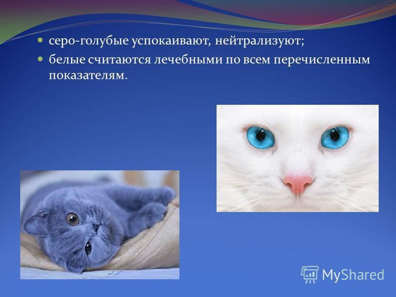 серо-голубые успокаивают, нейтрализуют; белые считаются лечебными по всем перечисленным показателям.
