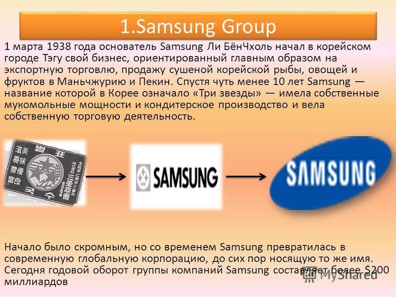 1. Samsung Group 1 марта 1938 года основатель Samsung Ли Бён Чхоль начал в корейском городе Тэгу свой бизнес, ориентированный главным образом на экспортную торговлю, продажу сушеной корейской рыбы, овощей и фруктов в Маньчжурию и Пекин. Спустя чуть м