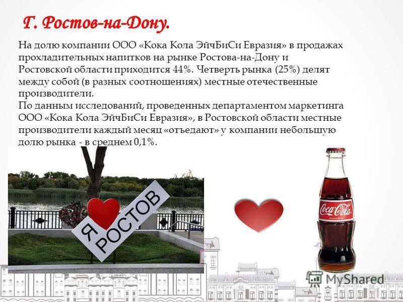 На долю компании ООО «Кока Кола Эйч БиСи Евразия» в продажах прохладительных напитков на рынке Ростова-на-Дону и Ростовской области приходится 44%. Четверть рынка (25%) делят между собой (в разных соотношениях) местные отечественные производители. По