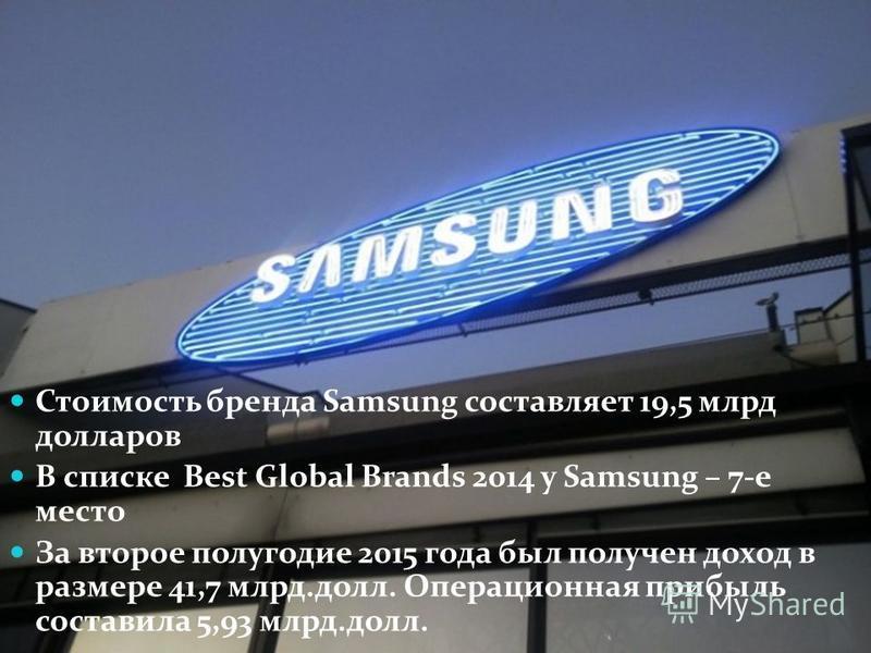 Стоимость бренда Samsung составляет 19,5 млрд долларов В списке Best Global Brands 2014 у Samsung – 7-е место За второе полугодие 2015 года был получен доход в размере 41,7 млрд.долл. Операционная прибыль составила 5,93 млрд.долл.