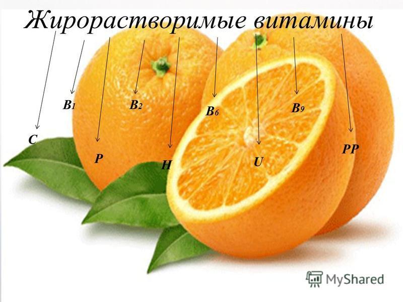 Жирораствопримые витамины C B1B1 B2B2 B6B6 B9B9 P H U PP
