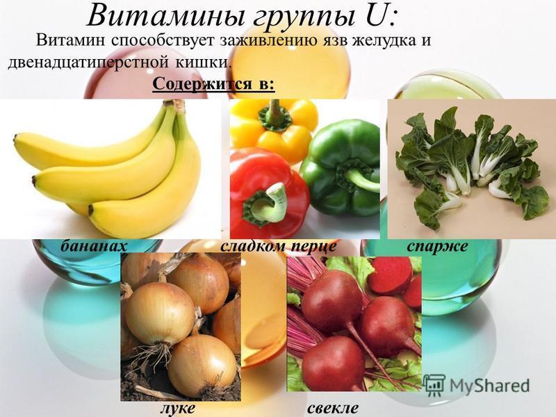 Витамины группы U: Витамин способствует заживлению язв желудка и двенадцатиперстной кишки. Содержится в: бананах сладком перце спарже луке свекле