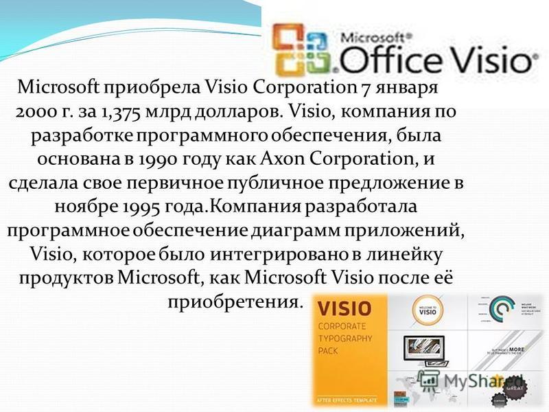 Microsoft приобрела Visio Corporation 7 января 2000 г. за 1,375 млрд долларов. Visio, компания по разработке программного обеспечения, была основана в 1990 году как Axon Corporation, и сделала свое первичное публичное предложение в ноябре 1995 года.К