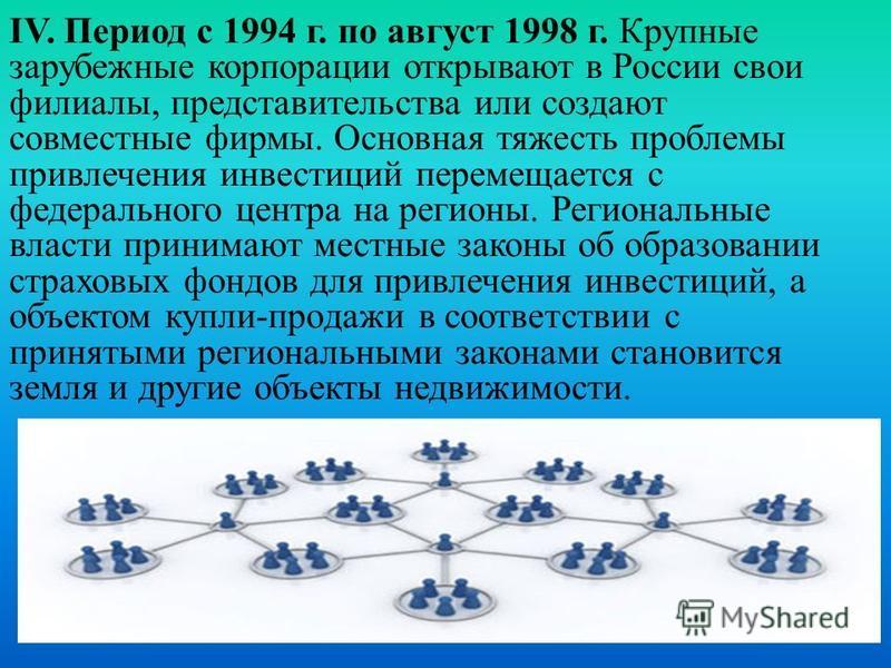IV. Период с 1994 г. по август 1998 г. Крупные зарубежные корпорации открывают в России свои филиалы, представительства или создают совместные фирмы. Основная тяжесть проблемы привлечения инвестиций перемещается с федерального центра на регионы. Реги
