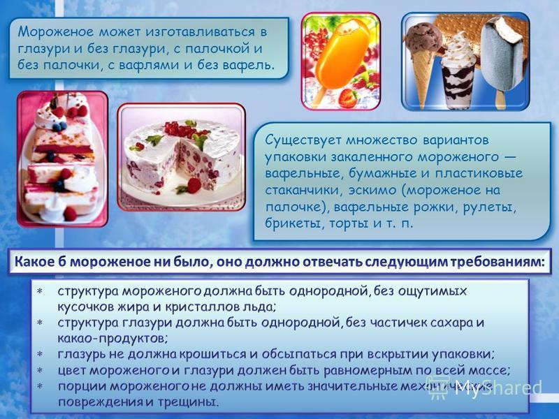 Мороженое может изготавливаться в глазури и без глазури, с палочкой и без палочки, с вафлями и без вафель. Существует множество вариантов упаковки закаленного мороженого вафельные, бумажные и пластиковые стаканчики, эскимо (мороженое на палочке), ваф