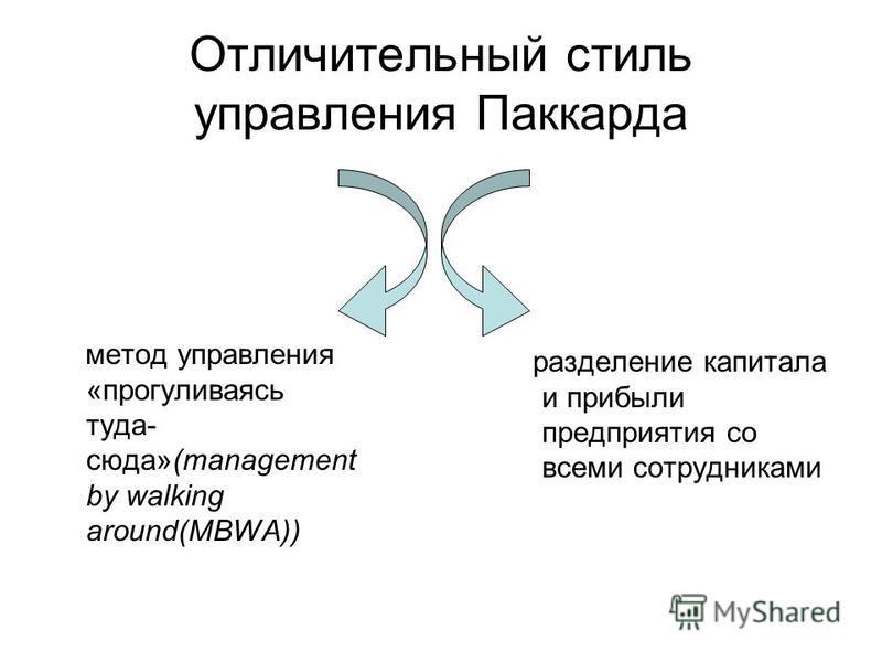 Отличительный стиль управления Паккарда метод управления «прогуливаясь туда- сюда»(management by walking around(MBWA)) разделение капитала и прибыли предприятия со всеми сотрудниками