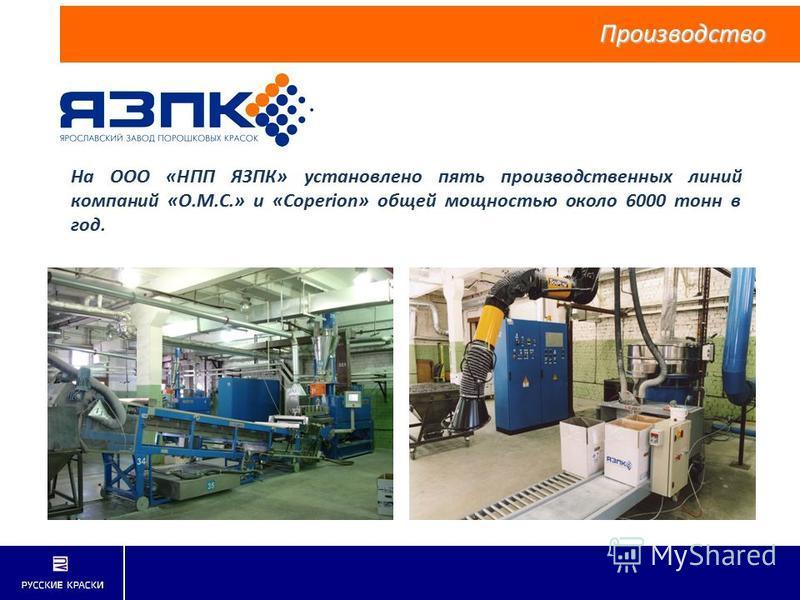На ООО «НПП ЯЗПК» установлено пять производственных линий компаний «O.M.C.» и «Coperion» общей мощностью около 6000 тонн в год. Производство