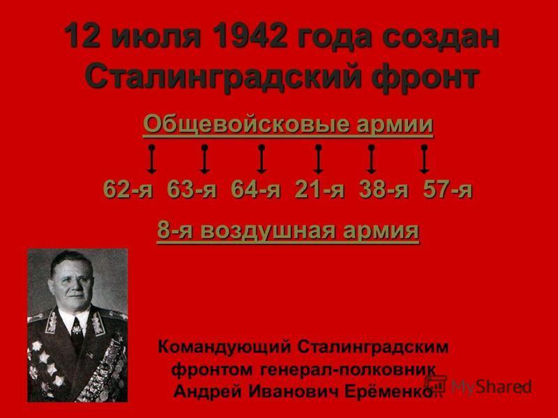 7 12 июля 1942 года создан Сталинградский фронт Общевойсковые армии 62-я 63-я 64-я 21-я 38-я 57-я 8-я воздушная армия Командующий Сталинградским фронтом генерал-полковник Андрей Иванович Ерёменко