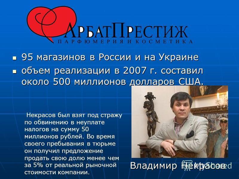 95 магазинов в России и на Украине 95 магазинов в России и на Украине объем реализации в 2007 г. составил около 500 миллионов долларов США. объем реализации в 2007 г. составил около 500 миллионов долларов США. Владимир Некрасов Некрасов был взят под