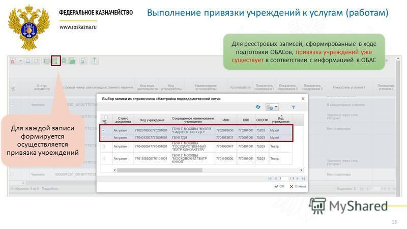 13 Выполнение привязки учреждений к услугам (работам) Для каждой записи формируется осуществляется привязка учреждений Для реестровых записей, сформированные в ходе подготовки ОБАСов, привязка учреждений уже существует в соответствии с информацией в