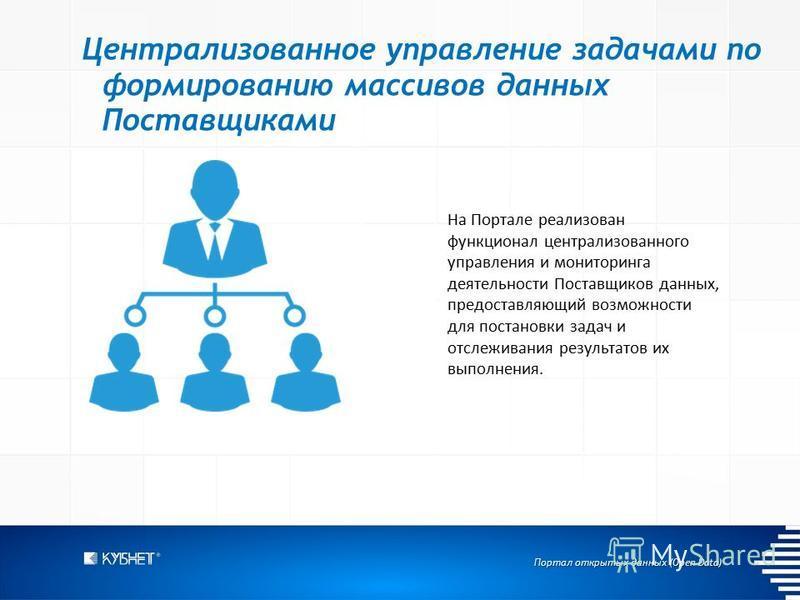 Портал открытых данных (Open Data) Централизованное управление задачами по формированию массивов данных Поставщиками На Портале реализован функционал централизованного управления и мониторинга деятельности Поставщиков данных, предоставляющий возможно