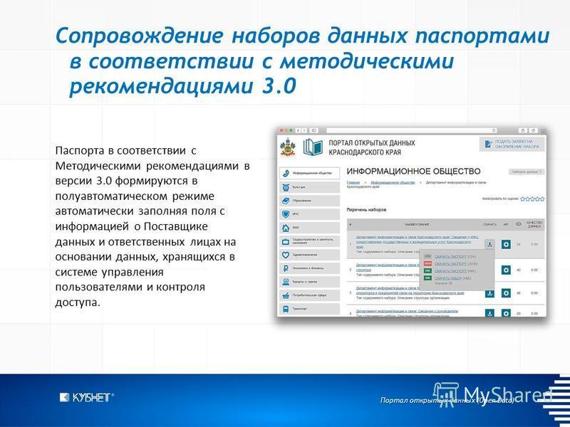 Портал открытых данных (Open Data) Сопровождение наборов данных паспортами в соответствии с методическими рекомендациями 3.0 Паспорта в соответствии с Методическими рекомендациями в версии 3.0 формируются в полуавтоматическом режиме автоматически зап