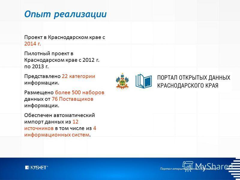 Портал открытых данных (Open Data) Опыт реализации Проект в Краснодарском крае с 2014 г. Пилотный проект в Краснодарском крае с 2012 г. по 2013 г. Представлено 22 категории информации. Размещено более 500 наборов данных от 76 Поставщиков информации.