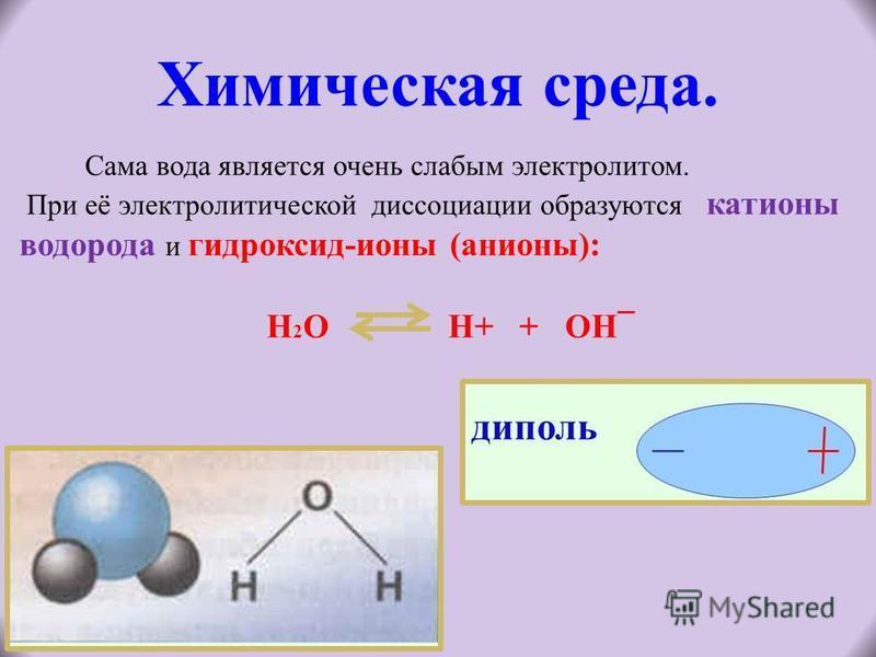 Химическая среда. Сама вода является очень слабым электролитом. При её электролитической диссоциации образуются катионы водорода и гидроксид-ионы (анионы): Н 2 О Н+ + ОН¯